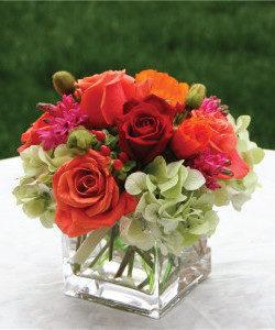 Roses, hydrangea, hypericum berries