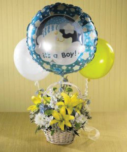 Baby boy balloon with fresh flower basket