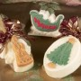 Multicolored angel, sleigh and Christmas tree soaps add a holiday scent in a gentle, all-natural soap. Gentle and all natural and scented with Timber Lake, brisk mountain air with a hint of sugar pine and woodsy notes of franincense and myrrh. Gift wrapped in tulle and ribbon.