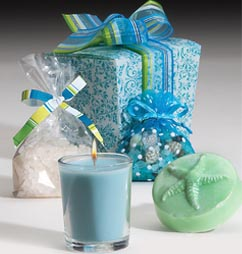 OceanAire scented soap, 20-hour soy candle, bath salts and a shell sachet in a aqua damask take-out box wrapped in ribbon. The easiest gift you will ever give!